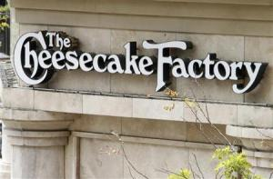 A sign for The Cheesecake Factory restaurant is pictured in Glendale